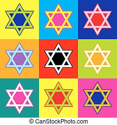 Star. Shield Magen David. Symbol of Israel. Pop-art style...