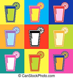 Glass of juice icons