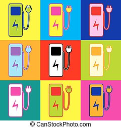 Electric car charging station sign. Pop-art style colorful...