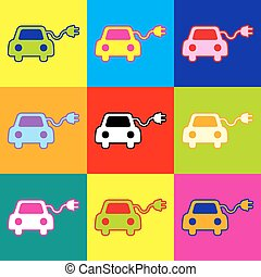 Eco electric car sign. Pop-art style colorful icons set with...