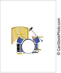 drum set in 3d with chimes in background