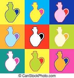 Amphora sign. Pop-art style colorful icons set with 3...