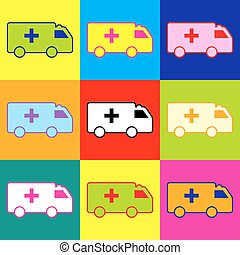 Ambulance sign. Pop-art style colorful icons set with 3...