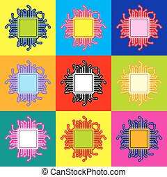 CPU Microprocessor Pop-art style colorful icons set with 3...