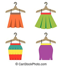 Colorful Women Skirts With Hangers. - Colorful Women Skirts...