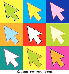 Arrow sign. Pop-art style colorful icons set with 3 colors.