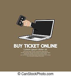 Buy Ticket Online Concept Vector.