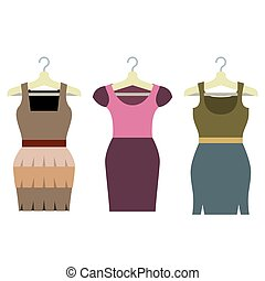 Set Of Women Clothes With Hangers.