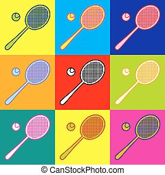 Tennis racquet icon. Pop-art style colorful icons set with 3...