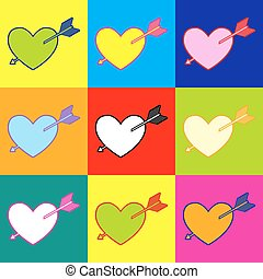 Arrow heart icon Pop-art style colorful icons set with 3...