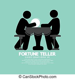 Fortune Teller With Crystal Ball - Black Symbol Fortune...