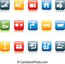 construction and diy icon set - construction and diy...