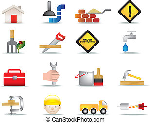 construction and diy icon set - detailed colour icon set of...