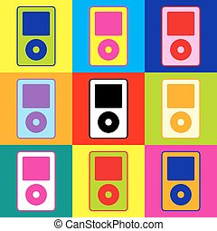 Portable music device. Pop-art style colorful icons set with...