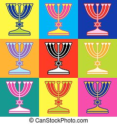 Jewish Menorah candlestick in black silhouette isolated on...