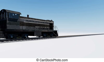 3D animation of freight cargo train - Freight train with...