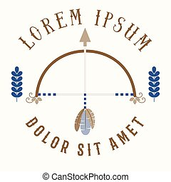Bow and arrow logotype, vector bohemian template