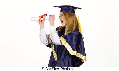 Woman with graduation gown and diplom. White - Girl with...