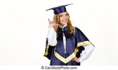 Graduate high school. White - Graduate high school, happy...