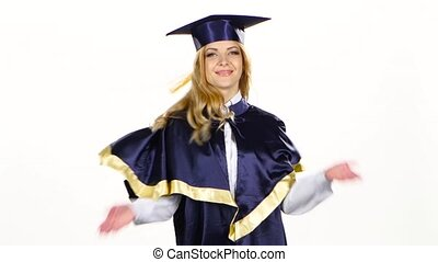 Portrait of female graduate student sends an air kiss. White...