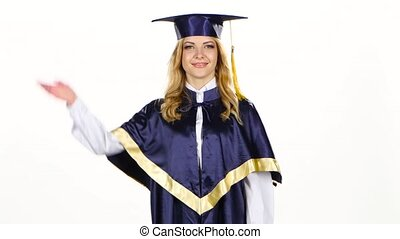 Graduate tossing a cap in the air White - Graduate tossing a...