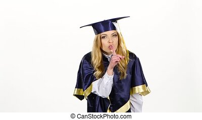 Female graduate threatening finger and shows sign quietly....