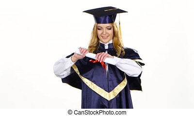 Woman college graduate White - Girl with graduation gown and...