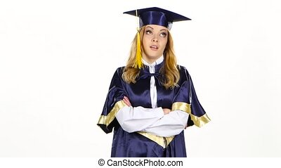 Unhappy and frustrated graduate showing thumbs down White -...
