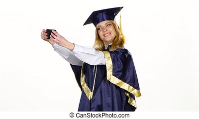 Selfe photo. Graduate. White - Graduate, portrait of female...