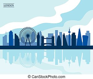 London Skyline, flat style modern design, vector...