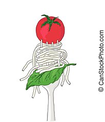 Spaghetti with cherry tomato and Basil leaf on a fork. Hand...