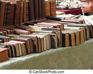 Many second hand books at antique market Tuscany, Italy