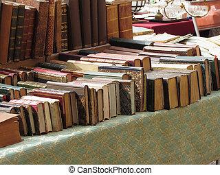 Many second hand books at antique market . Tuscany, Italy