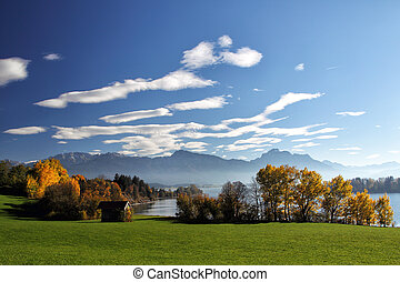 Forggensee, Allgauml;u - Autumn landscape with view on the...