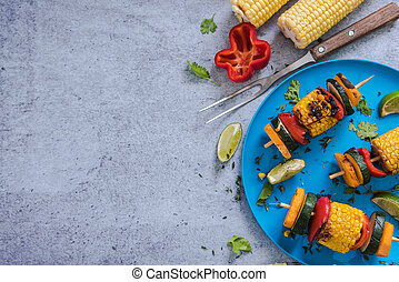 ingredients for healthy bbq or grill, on marble top, flat...