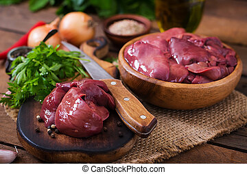 Raw chicken liver for cooking with onions and peppers