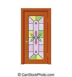 Door with stained-glass windows isolated vector