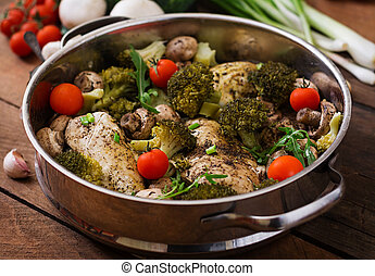 Chicken fillet with vegetables steamed Dietary menu Proper...