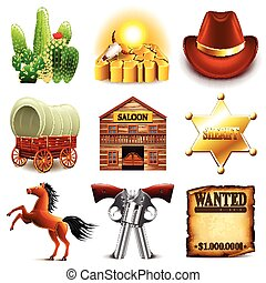 Wild west icons vector set - Wild west icons detailed photo...