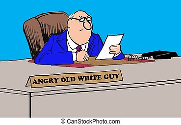 Angry White Guy - Business cartoon about an old, angry,...