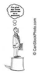 Manager on Pedestal - Business cartoon of businessman on...