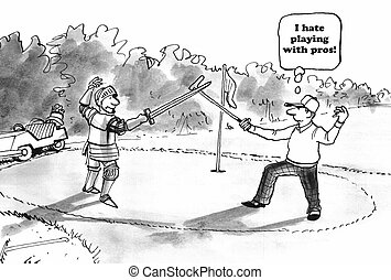Golf with Pro - Sports cartoon about hating to play golf...