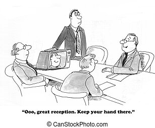 Videoconference Reception - Business cartoon about a boss...