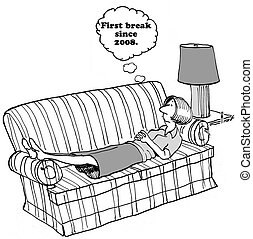 Exhausted Woman - Cartoon of woman laying on sofa, she is...