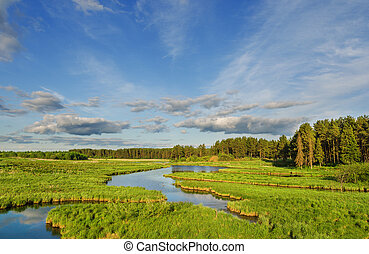 Beautiful summer landscape with river and blue sky