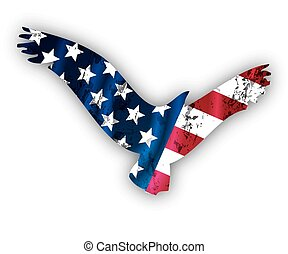 Flying American Eagle, vector art illustration logo.