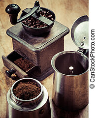 Moka express coffee maker and grinder - Photo of an Italian...