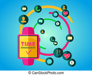Time Management Concept Smart Watch with Icons and Buttons...