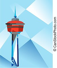 Calgary Tower - Geometric Illustration of Calgary Tower