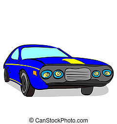 retro race car - vector illustration of a hand drawn retro...